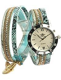 Michael John–Reloj Fantasía mujer pulsera doble azul Myu