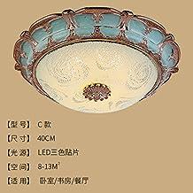 Cttsb De estilo europeo lámpara de techo dormitorio luz redondo simple europea sala de luces corridor de pasillo llevó luces de porche de iluminación, lámparas americanas, c40cm parches de tres colores