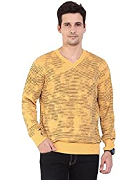 TAB91 Men's Cotton Rich Yellow V Neck Pullover