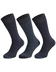 3 Pairs of Thermal Socks - Mens UK Size 6-11 EU size 39-46 Extra Warm, Heat Brushed Socks, Suitable for Winter, Outdoor Work, Travel, Camping, Trekking & Ski Wear - With Arch Support, by ATA®