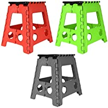 One Step Folding Plastic Stool | Portable Fold Up Footstool for Kitchen, Bathroom, Toilet, Caravan | for Children, Kids, Adult | Collapsible, Non Slip
