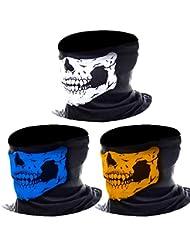 eBoot 3 Stück Nahtlos Schädel Gesicht Schlauch Maske Motorrad Gesichtsmaske (Mehrfarbig-A)