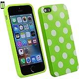 Emartbuy® Apple iPhone SE Polka Dots Gel Haut Kasten Abdeckung Grün / Weiß