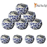 Prisha India Craft - Beaded Napkin Rings Set Of 10 White-blue - 1.5 Inch In Size-Perfect Wedding Napkin Rings