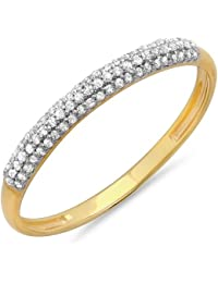 0.16 Carat (ctw) 14 ct Yellow Gold Round White Diamond Ladies Bridal Anniversary Wedding Band