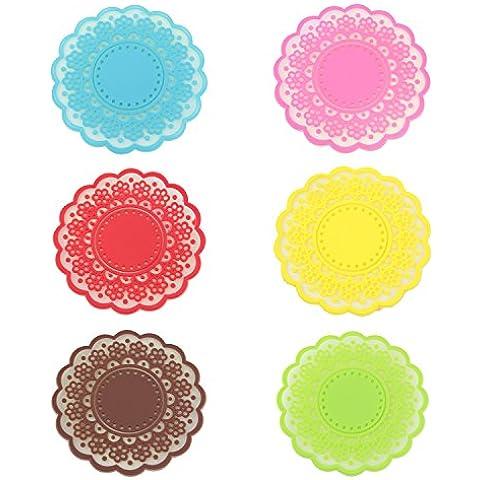 SODIAL (R) dulce flor encaje transparente posavasos de silicona almohadilla-Conjunto De 6