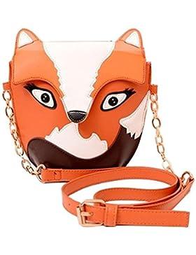 SODIAL(R) Neue Fashion Frauen lederne Handtaschen Karikaturbeutel Fuchsschulterbeutel Frauen Kurierbeutel Orange
