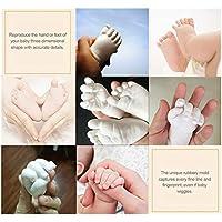 3D Plaster Molding Clone Powder Kids huellas de manos Huellas de manos y pies de bebés Mini Kit Proceso de consolidación de seguridad, Blanco