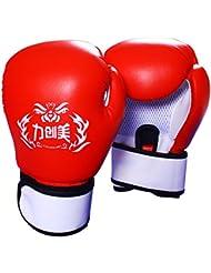 guantes de boxeo profesionales adultas/Disgustar a los niños a guantes de boxeo de entrenamiento/ juventud guantes de Sanda profesional-rojo