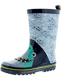 Dinosaur Hunter Sharkie Niños Botas Agua Azul -Azul- GB Tallas 1-13