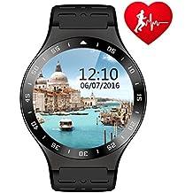 S99A Bluetooth Smart Fitness Watch Monitor de ritmo cardíaco Fitness Tracker Podómetro Análisis de sueño Android 5.1 sistema operativo CPU MTK6580 1.3G Quad Core GPS 3G WIFI Smartwatch para Android (Negro)