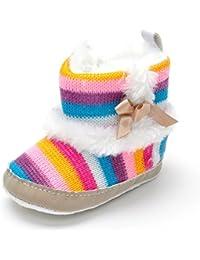 Bebé Niñas Invierno Rainbow–Botas de nieve Suave Crib Zapatos de bebé