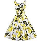 Mujer Vestido Clásico 1950S Retro Limón Vestido Estampado Vestidos de Verano de Cóctel