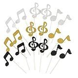 Healifty Cake Topper en forme de note de musique paillettes pour décoration 18 pièces