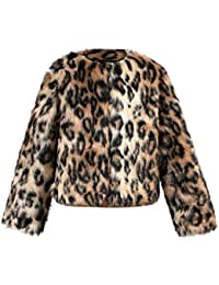 Moda Niña Abrigo De Pelo Sintética-MYQyiyi Muchacha Chaqueta de impresión  de leopardo ... 8db95592885d0