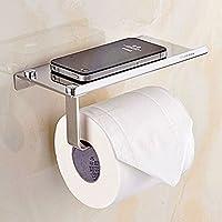 Sumnacon Porte Papier Toilette/ Porte-Rouleau Papier avec tablette pour Téléphone portable, Contes, parfume, Savon etc. en acier inox avec des Vis et Chevilles