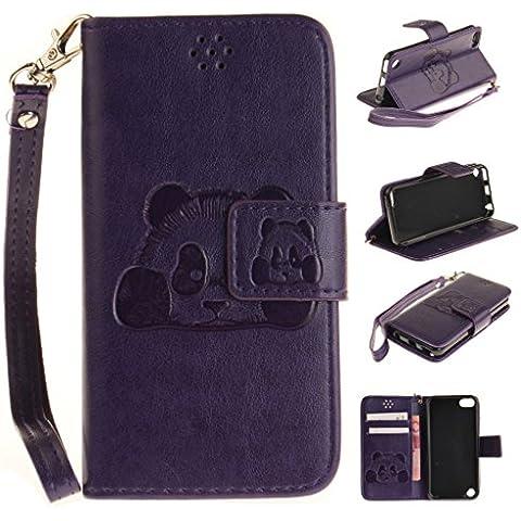 iPod Touch 5 Custodia, Touch 6 Custodia, Carino Panda PU Cover in Ecopelle Flip Portafoglio Protettivo Custodia Con Chiusura Magnetica Case Cover Per For iPod Touch 5 5th / 6th Generation (Viola)
