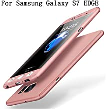 Samsung Galaxy S7 EDGE Coque Protection Souple PC 2 en 1 Full Cover Adamark 360 Housse Integrale Bumper Etui Case Accessoires Ultra Fin Et Discret Pour Samsung Galaxy S7 EDGE(Sans protecteur de film en verre trempé) (or rose)