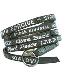 Good Works Bracelet en cuir Gris/inscriptions argentées