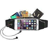Alfort Riñonera Running Belt, Bolsillo Running Cinturón Impermeable para Móvil iPhone para Mujer y Hombre Correr Fitness Viaje o Deportes al Aire Libre (Negro) Menos DE 5.7 Pulgadas