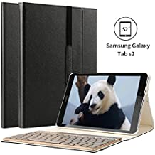 KVAGO - Funda para tableta Samsung Galaxy Tab S2SM-T815T810 de 25 cm (9,7pulgadas) con teclado retroiluminado desmontable de 7colores, fina, elegante, de lujo, de piel sintética, plegable en tres, para uso inalámbrico por Bluetooth negro negro