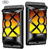 EleLight Lámparas de Pared de Luz Solar, 66 Piezas LED Sensor de Luz Lámpara de Llamas Resistente al Agua para Jardín al Aire libre, Bar, Decoración de Festival Realis-2Pack