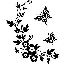 Da.Wa Etiqueta Adhesiva de Pared de Flor Vid Mariposa Diseño Decorativo de Búho para WC