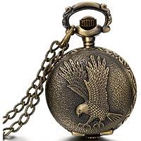 JewelryWe Gioielli collana con pendente da uomo donna aquila volando pendente Bronzo Orologio da tasca catenina lunga 80cm