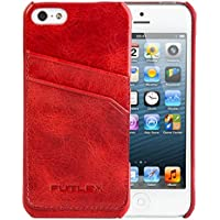 iPhone SE / 5 / 5S Custodia, FUTLEX Custodia realizzato in vera pelle in stile vintage - Rosso - con fessure per carte - Ultra sottile - Design e taglio preciso - realizzato a mano - Copertura Bibbia Red