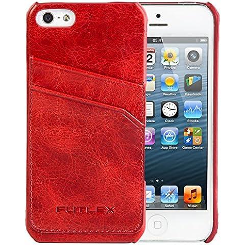 iPhone SE / 5 / 5S Funda, FUTLEX Trasera Funda de auténtico cuero estilo vintage - Rojo – Porta tarjetas - Ultra fino – Diseño y corte preciso – Hecho a