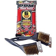 Kit para el cuidado de limpieza barbacoa completo, 2x barbacoa horno y grill alambre de metal cepillo de limpieza rascador herramienta, y 6x extra rígida resistente desechables barbacoa absorbente toallitas