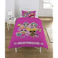 L.O.L. Surprise! Duvet Set Single with Pillowcase LOL Surprise Glitterati Series Confetti Pop L O L Bedding Reversible Design Queen Bee Dolls Glitter Pattern