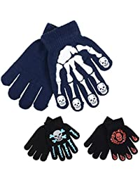 3 Pairs Of Boys Kids Assorted Knitted Skeleton Skull Grips Winter Magic Gloves