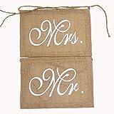 veewon Mr & Mrs Vintage de la bandera de arpillera boda Bunting Banner decoración