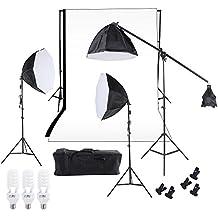 Andoer® Kit para Estudio de Fotografía / Vídeo Iluminación Triple Continuo ----Incluye--- Kit de Fondo de telón Negro&Blanco con soporte + Bombillas con bases + Difusor Octágono 60cm + Bolsas + Otras Cosas para estudio (se muestran en la lista del paquete) ----KIT F