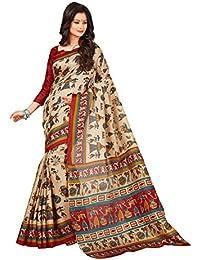 AppleCreation Women's Silk Saree With Blouse Piece (Silk Sarees For Women's Party Wear B8752D_Beige)
