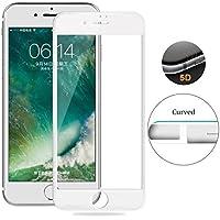 """Para iPhone 8 4.7"""" Full Cover Vidrio Cristal Templado Completo Curvo 5D (NUEVA Versión Esquinas y Laterales Reforzado). MarvTek Protector de Pantalla Completa 3D para iPhone 8 4,7"""" (Blanco).[Compatible con iPhone 7 4,7""""]"""