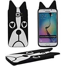 Samsung Galaxy S6 Edge Funda, Suave Silicona Gel Cartoon Animal 3D Perro Forma Linda Moda Carcasa protectora Case Cover para Samsung Galaxy S6 Edge - Negro