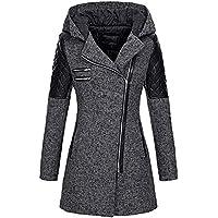 Geili Damen Wolle Mantel Leder Patchwork Winter Jacken Lange Reißverschlus Tweed Mantel mit Kapuze Frauen Übergrößen... preisvergleich bei billige-tabletten.eu