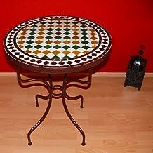 Mosaico jardín mesa piedra Herrero hierro hand-morocco redondo diámetro 70cm
