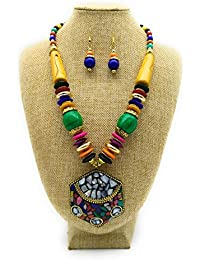 Satyam Kraft Satyam Kraft Trendy Fashionable Thread Colourful Necklace With Earring Set Navratri Jewellery For...