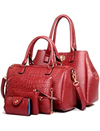 Tibes Sac à main de luxe en cuir PU de mode Sac à main en sac bandoulière Card Holder 5pcs Set Purse pour femmes/filles/femmes