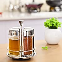 Home Basics 4pc Acrylic Revolving Spice Rack Set With Stainless