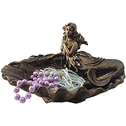 7,5cm frío de bronce fundido sirena sentados en Shell bandeja de joyas