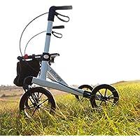 Rehasense Leichtgewicht Outdoor Rollator Explorer weiß für Senioren mit abnehmbarer Einkaufstasche, bequemen Sitz mit Steighilfe. Der formschöne Rollator ist 4-fach höhenverstellbar, faltbar und bis 200 kg belastbar mit breitem Rahmen (L (Standard))