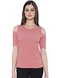 Chimpaaanzee women Doted Light Pink Cold shoulder Top