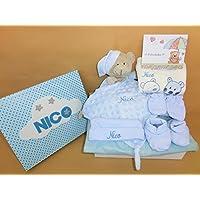 Set Regalo Bebé – Canastilla para bebe, el regalo perfecto para recién nacido. Doudou bordado, conjunto de gorro, manoplas y patucos y pijama bordado