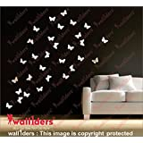 [Wall1ders Offering Free 10 3D Mirror Butterflies With Every Order] - BUTTERFLIES 30 White 3D Acrylic Wall Sticker, 3D Acrylic Stickers For Wall, 3D Acrylic Stickers For Living Room, Bedroom, Kids Room, 3D Acrylic Mural For Home & Offices Décor