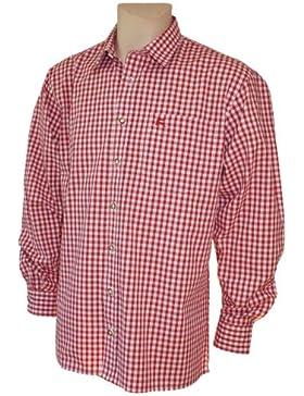 S-6XL 37-54cm Trachtenhemd Karo-Hemd Trachten-Pfoadl Karohemd rot kariert Tracht