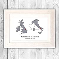Personalised leaving print poster/Wedding gift/engagement gift/Friend apart present/moving gift VA101